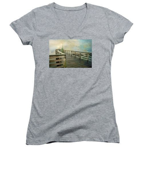 Walk On By Women's V-Neck T-Shirt (Junior Cut) by Diana Angstadt