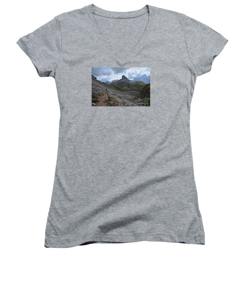 Women's V-Neck T-Shirt (Junior Cut) featuring the photograph Walk On by Yuri Santin