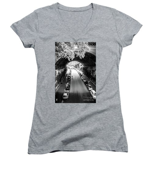 Women's V-Neck T-Shirt (Junior Cut) featuring the photograph Walk The Tunnel by Perry Webster