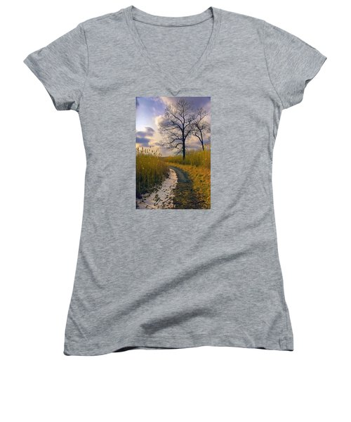Walk With Me Women's V-Neck T-Shirt (Junior Cut) by John Rivera