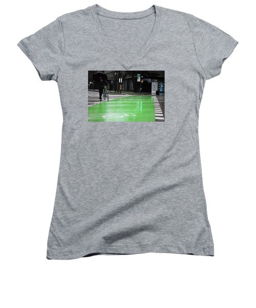 Women's V-Neck T-Shirt (Junior Cut) featuring the photograph Walk With Wheels  by Empty Wall