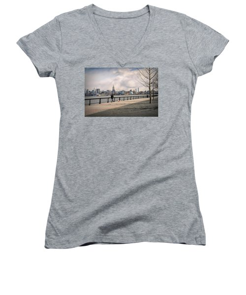 Walking Along Hoboken's Hudson River Waterfront Walkway Women's V-Neck (Athletic Fit)