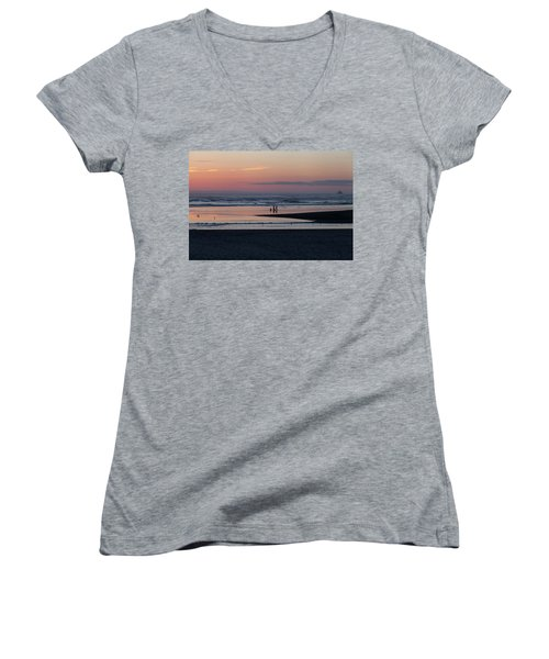 Walking Dogs On The Beach Women's V-Neck (Athletic Fit)