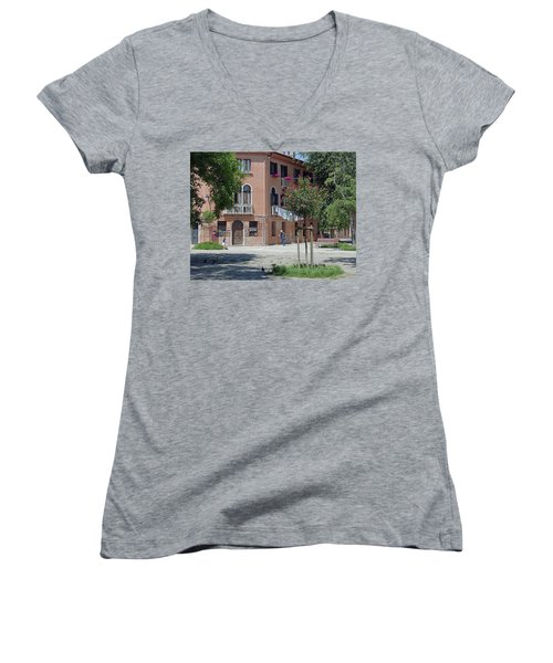 Walking In A Quiet Neighborhood On Murano Women's V-Neck (Athletic Fit)