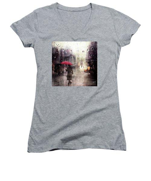 Walking In The Rain Somewhere Women's V-Neck