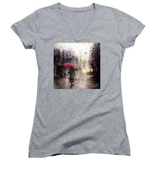 Walking In The Rain Somewhere Women's V-Neck (Athletic Fit)
