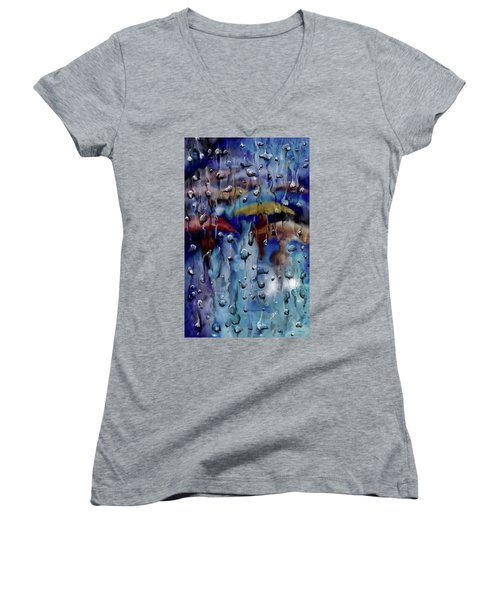 Women's V-Neck T-Shirt featuring the digital art Walking In The Rainfall by Darren Cannell