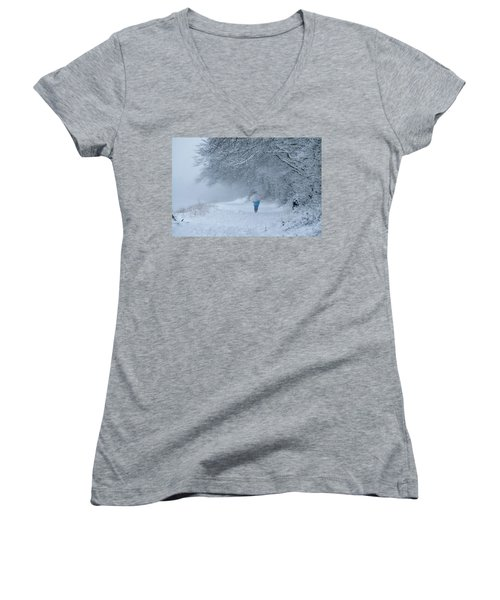 Walking In The Snow Women's V-Neck (Athletic Fit)