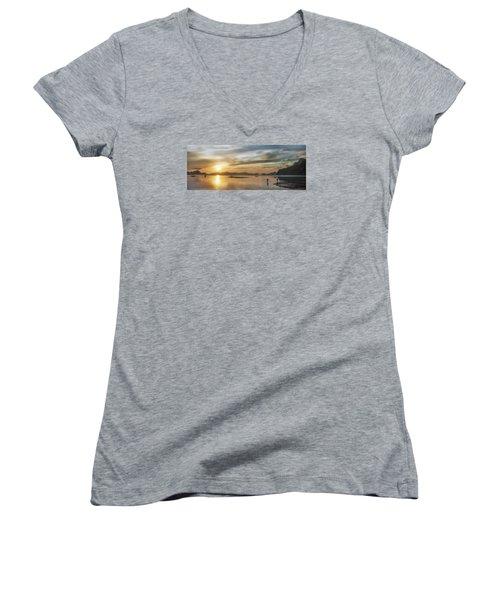 Walking In The Sun Women's V-Neck T-Shirt (Junior Cut) by John Swartz