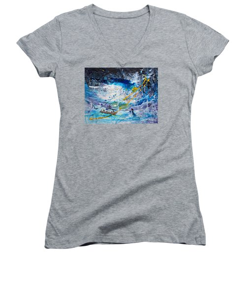 Walking On The Water Women's V-Neck T-Shirt (Junior Cut) by Kume Bryant