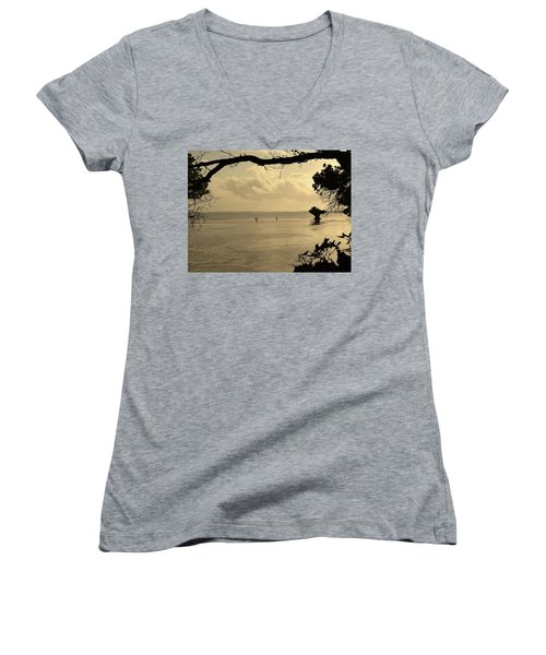 Walking On Water Women's V-Neck (Athletic Fit)
