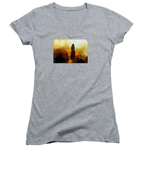 Walking Out From Chaos Women's V-Neck T-Shirt (Junior Cut) by Gun Legler