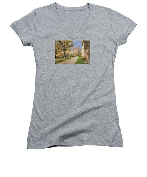 Walking The Cappadocia Women's V-Neck T-Shirt (Junior Cut) by Yuri Santin