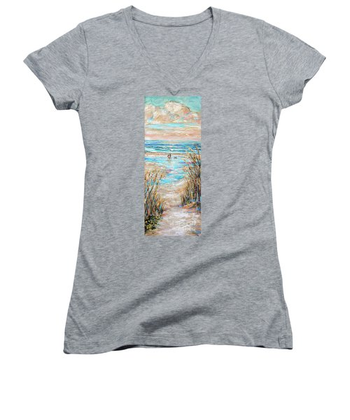 Walking The Dog IIi Women's V-Neck T-Shirt (Junior Cut)