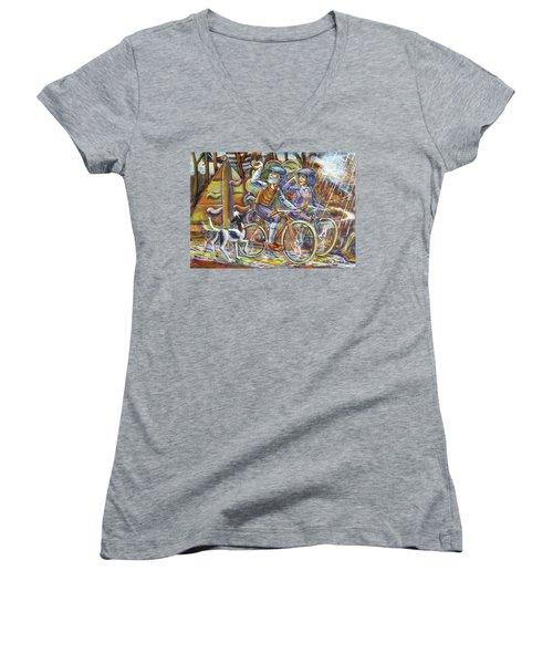 Walking The Dog 3 Women's V-Neck T-Shirt