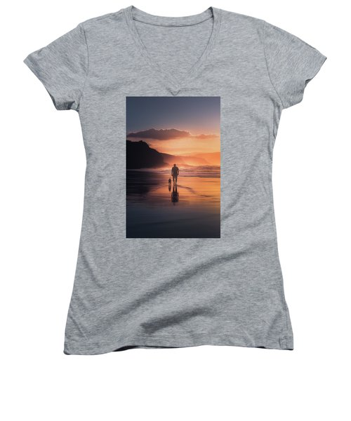 Walking The Dog Women's V-Neck