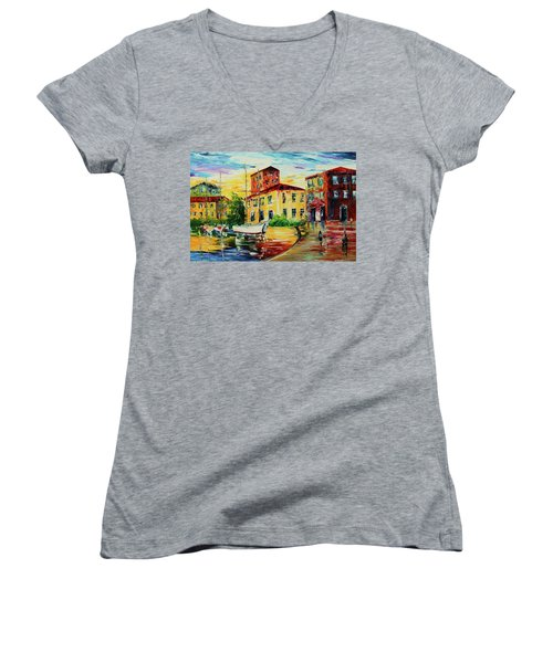 Walking The Harbor Women's V-Neck