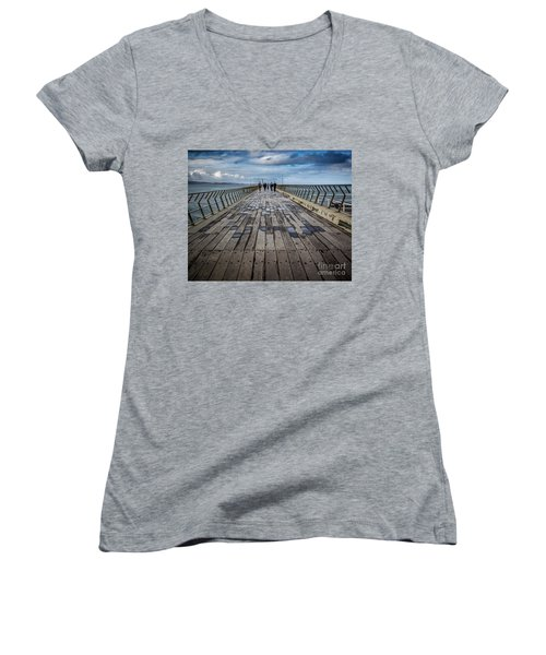 Women's V-Neck T-Shirt (Junior Cut) featuring the photograph Walking The Pier by Perry Webster