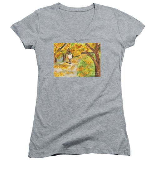 Walking The Truckee River Women's V-Neck T-Shirt (Junior Cut) by Vicki  Housel