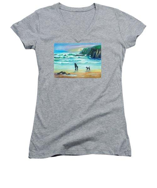 Walking With Grandpa - Painting Women's V-Neck T-Shirt (Junior Cut) by Veronica Rickard