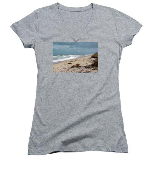 Walks On The Beach Women's V-Neck T-Shirt (Junior Cut) by Megan Dirsa-DuBois