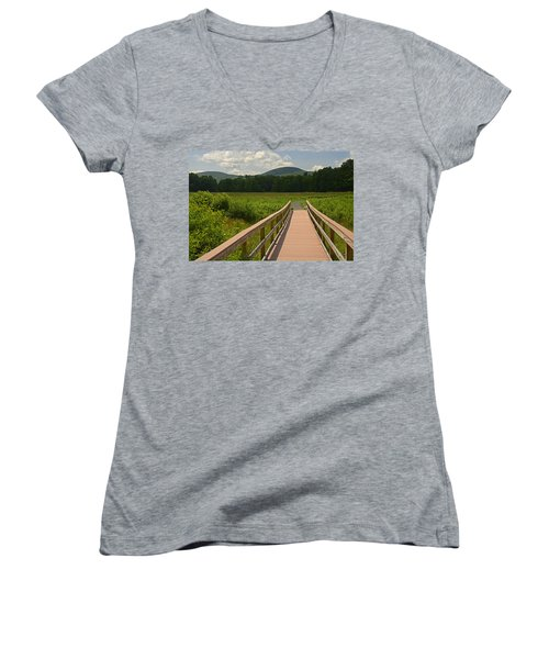 Walkway To A Mountain Color Women's V-Neck