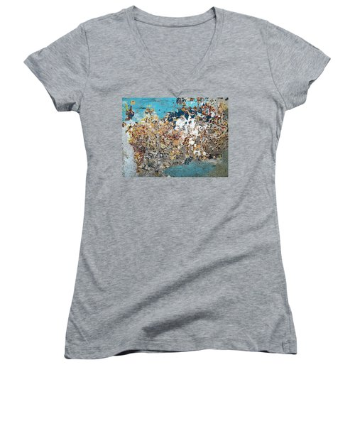 Women's V-Neck T-Shirt (Junior Cut) featuring the photograph Wall Abstract 106 by Maria Huntley