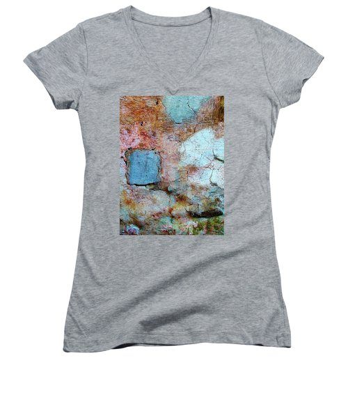 Women's V-Neck T-Shirt (Junior Cut) featuring the photograph Wall Abstract 138 by Maria Huntley
