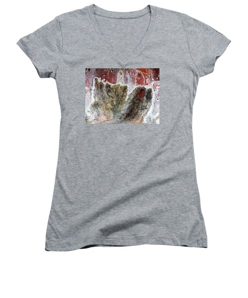 Wall Abstract 144 Women's V-Neck T-Shirt (Junior Cut) by Maria Huntley