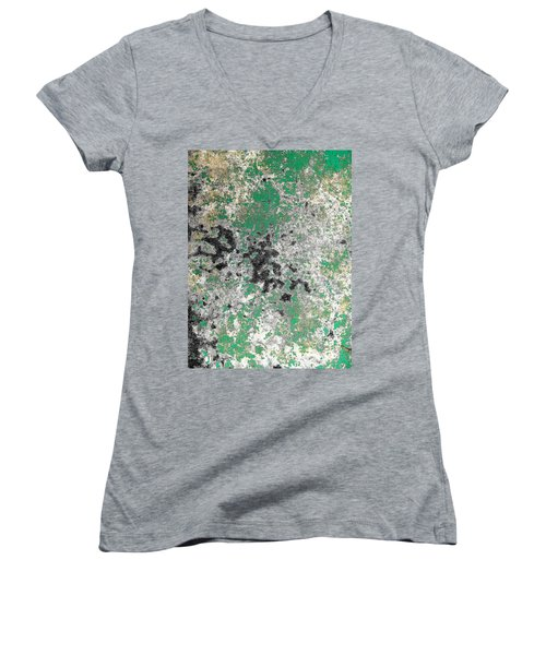Women's V-Neck T-Shirt (Junior Cut) featuring the photograph Wall Abstract 160 by Maria Huntley