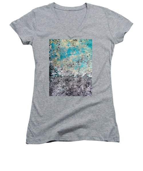 Women's V-Neck T-Shirt (Junior Cut) featuring the photograph Wall Abstract 174 by Maria Huntley