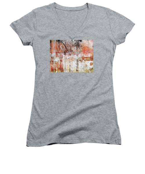 Women's V-Neck T-Shirt (Junior Cut) featuring the photograph Wall Abstract  183 by Maria Huntley