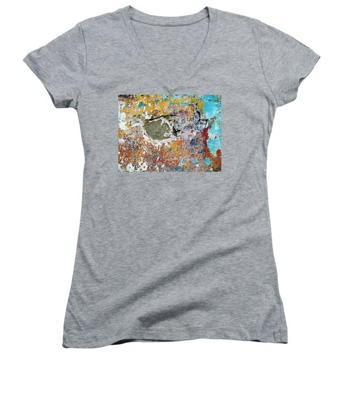 Women's V-Neck T-Shirt (Junior Cut) featuring the photograph Wall Abstract 196 by Maria Huntley