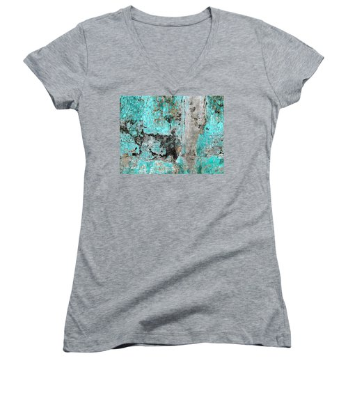 Wall Abstract 219 Women's V-Neck T-Shirt (Junior Cut) by Maria Huntley