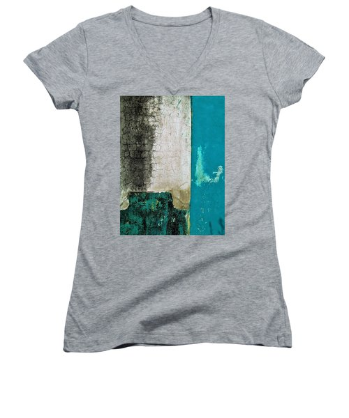 Women's V-Neck T-Shirt (Junior Cut) featuring the photograph Wall Abstract 296 by Maria Huntley