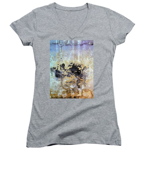 Women's V-Neck T-Shirt (Junior Cut) featuring the photograph Wall Abstract 68 by Maria Huntley