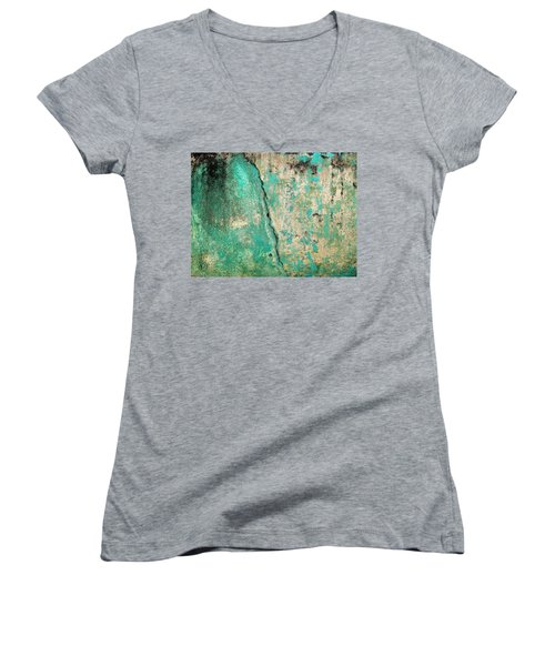 Wall Abstract 97 Women's V-Neck T-Shirt (Junior Cut) by Maria Huntley