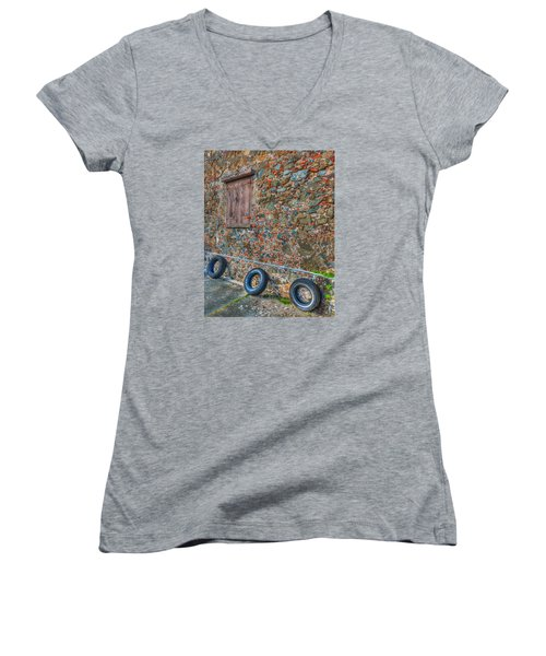 Wall Abstract Women's V-Neck T-Shirt (Junior Cut) by James Hammond