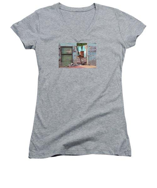 Wall, Door, Open Space In Kochi Women's V-Neck T-Shirt (Junior Cut) by Jennifer Mazzucco