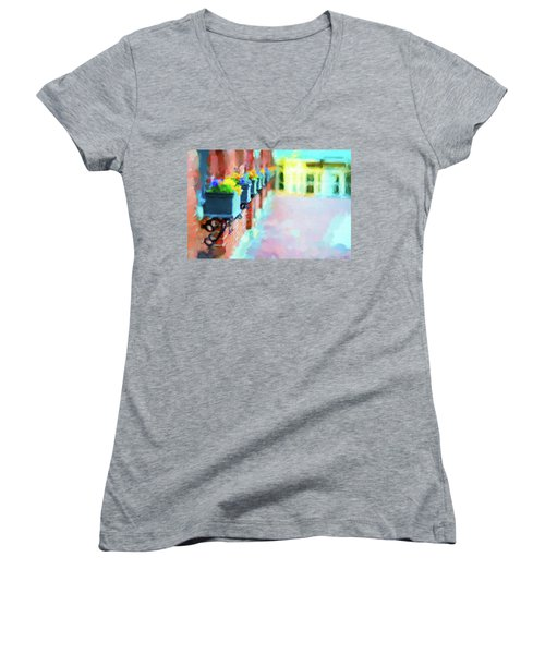 Wall Flower On The Mills In Amesbury Ma Women's V-Neck (Athletic Fit)