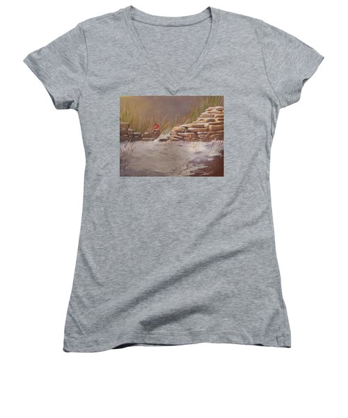 Wall In Winter Women's V-Neck T-Shirt