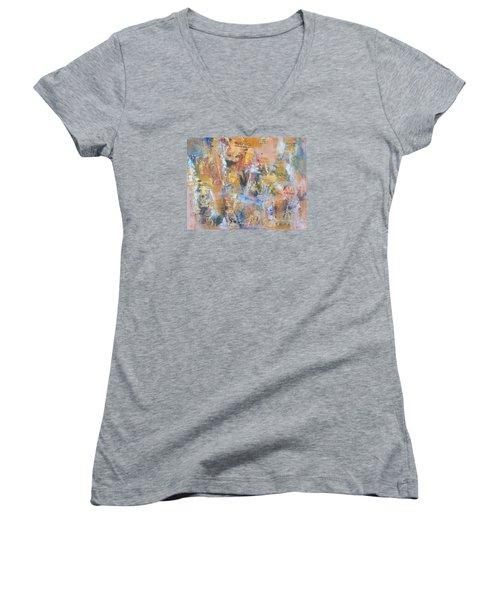 Wall Memories Women's V-Neck T-Shirt (Junior Cut) by Becky Chappell