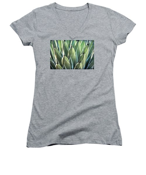 Women's V-Neck T-Shirt (Junior Cut) featuring the photograph Wall Of Agave  by Saija Lehtonen