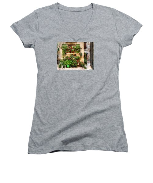 Women's V-Neck T-Shirt (Junior Cut) featuring the photograph Wall Of Flowers by Uri Baruch