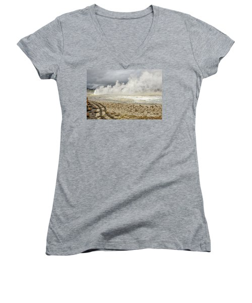 Wall Of Steam Women's V-Neck T-Shirt (Junior Cut) by Sue Smith