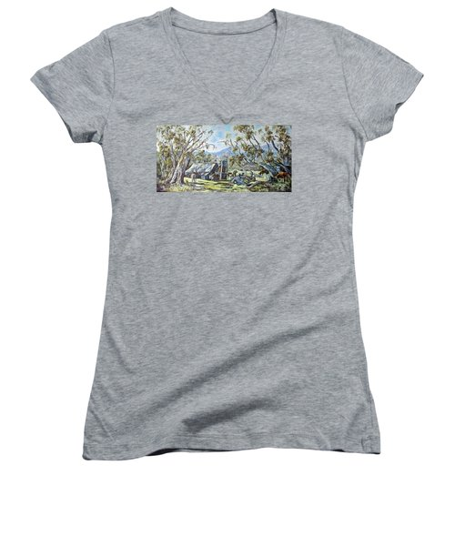 Wallace Hut, Australia's Alpine National Park. Women's V-Neck