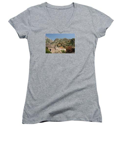 Women's V-Neck T-Shirt (Junior Cut) featuring the photograph Walls Of Kotor by Robert Moss