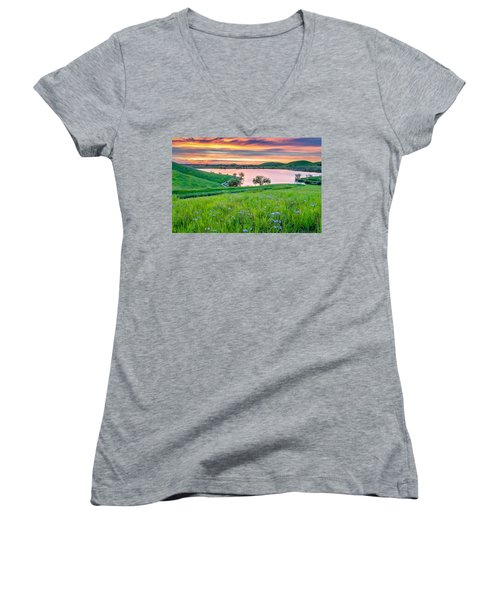 Women's V-Neck T-Shirt (Junior Cut) featuring the photograph Wally Baskets Above Contra Loma  by Marc Crumpler