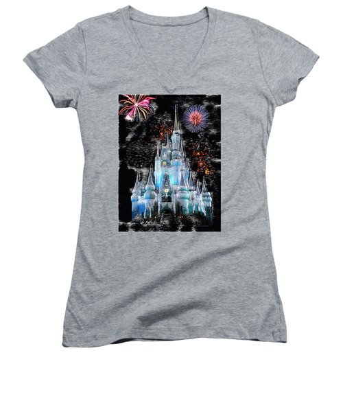 Walt Disney World Frosty Holiday Castle Mp Women's V-Neck T-Shirt