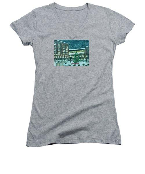 Waltham Hospital On Hope Ave Women's V-Neck T-Shirt (Junior Cut) by Rita Brown